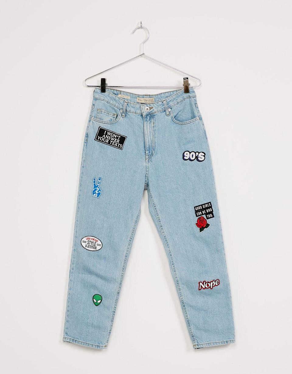 """<p><a rel=""""nofollow noopener"""" href=""""http://www.bershka.com/gb/woman/sale/sale-up-to-50%25-off/patched-cropped-%E2%80%98mom-fit%E2%80%99-jeans-c1010190153p100494029.html?colorId=428"""" target=""""_blank"""" data-ylk=""""slk:Bershka, was £45.99, now £22.99"""" class=""""link rapid-noclick-resp""""><em>Bershka, was £45.99, now £22.99</em></a> </p>"""