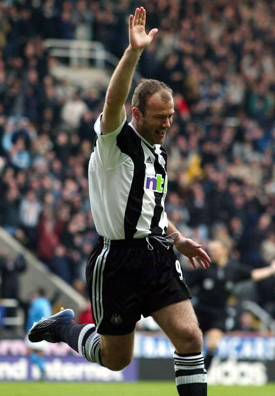 Newcastle United's Alan Shearer celebrates scoring the opening goal against Manchester City during their Barclaycard Premiership match at St James Park, Newcastle. THIS PICTURE CAN ONLY BE USED WITHIN THE CONTEXT OF AN EDITORIAL FEATURE. NO WEBSITE/INTERNET USE UNLESS SITE IS REGISTERED WITH FOOTBALL ASSOCIATION PREMIER LEAGUE.   (Photo by Owen Humphreys - PA Images/PA Images via Getty Images)