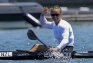 Lisa Carrington, of New Zealand, reacts after winning the gold medal in the women's kayak single 500m final at the 2020 Summer Olympics, Thursday, Aug. 5, 2021, in Tokyo, Japan. (AP Photo/Kirsty Wigglesworth)