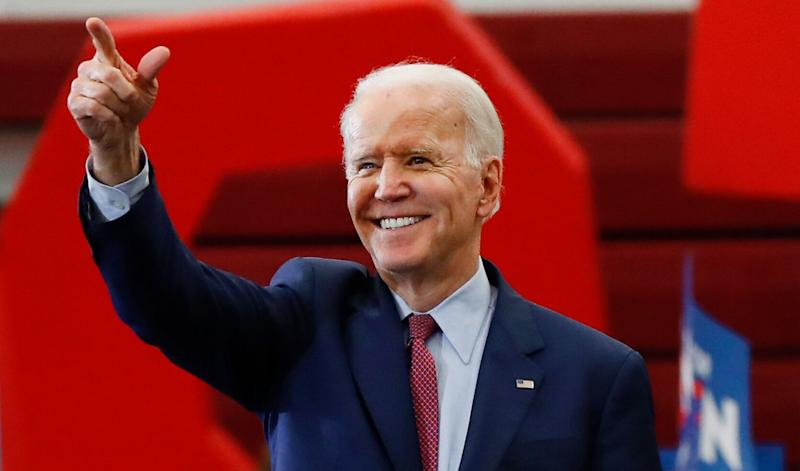 """Joe Biden, the front-runner for the <a href=""""https://www.huffpost.com/news/topic/2020-election"""" target=""""_blank"""" rel=""""noopener noreferrer"""">Democratic presidential nomination</a>, is calling on Trump to expand use of the Defense Production Act. (Photo: ASSOCIATED PRESS)"""