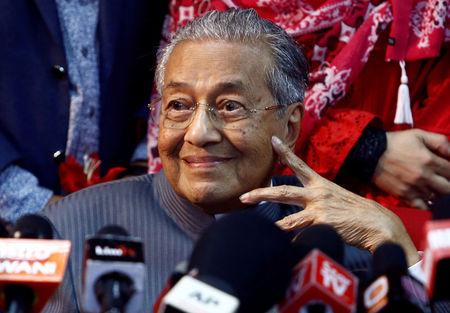 Former Malaysia's Prime Minister Mahathir Mohamad reacts during a news conference following the temporary deregistration of Parti Pribumi Bersatu Malaysia (PPBM) in Petaling Jaya