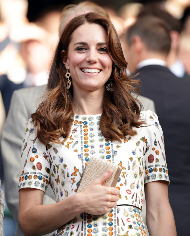 <p>Sporting a printed Alexander McQueen look for Wimbledon, Kate chose her trusted L.K. Bennett clutch to accessorise.</p><p><i>[Photo: PA]</i></p>