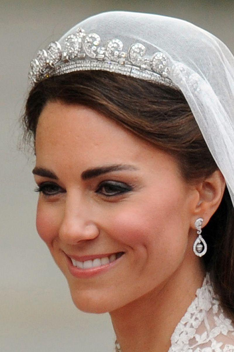 <p>The tiara worn by the Duchess of Cambridge on her wedding day was on loan from the Queen and was originally a wedding anniversary gift from King George VI to his wife Elizabeth (also known as the Queen Mother) in 1936. The Queen Mother then gifted it to the Queen on her 18th birthday. It contains over 1,000 diamonds and was also worn occasionally by Princess Margaret.</p>