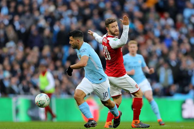 Caught out: Aguero gets away from Mustafi before scoring City's opener at Wembley: Rex Features