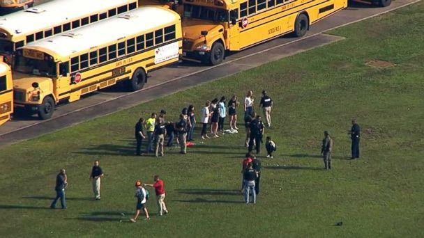PHOTO: Santa Fe High School students leave the school after a reported shooting, May 18, 2018 in Santa Fe, Texas. (KTRK)