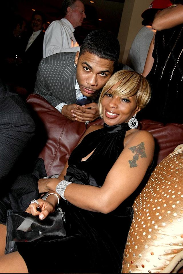 """The """"Queen of Hip Hop Soul"""" Mary J. Blige chilled with rapper Nelly at Universal Music Group's Grammy party at The Palm in West Hollywood. Eric Charbonneau/<a href=""""http://www.wireimage.com"""" target=""""new"""">WireImage.com</a> - February 10, 2008"""