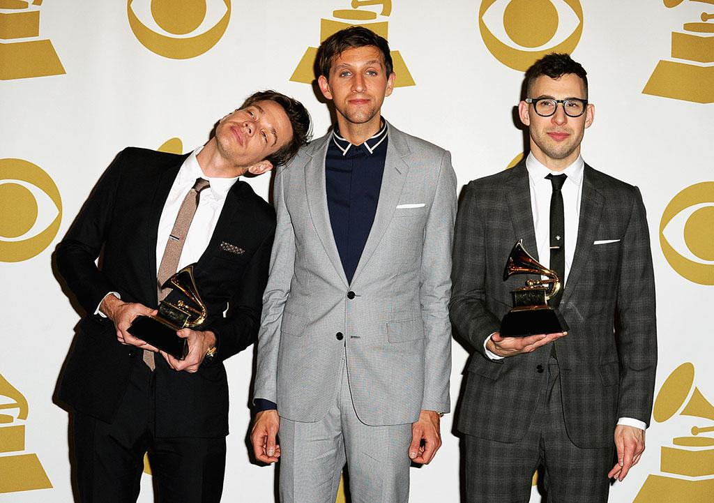 Nate Ruess, Andrew Dost, and Jack Antonoff of Fun. pose in the press room during the 55th Annual GRAMMY Awards at STAPLES Center on February 10, 2013 in Los Angeles, California.