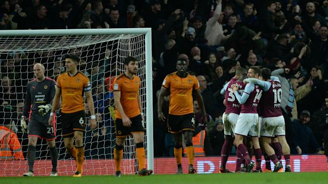 Aston Villa produced a superb display to thump Championship leaders Wolves 4-1, while Cardiff City won a sixth successive game.