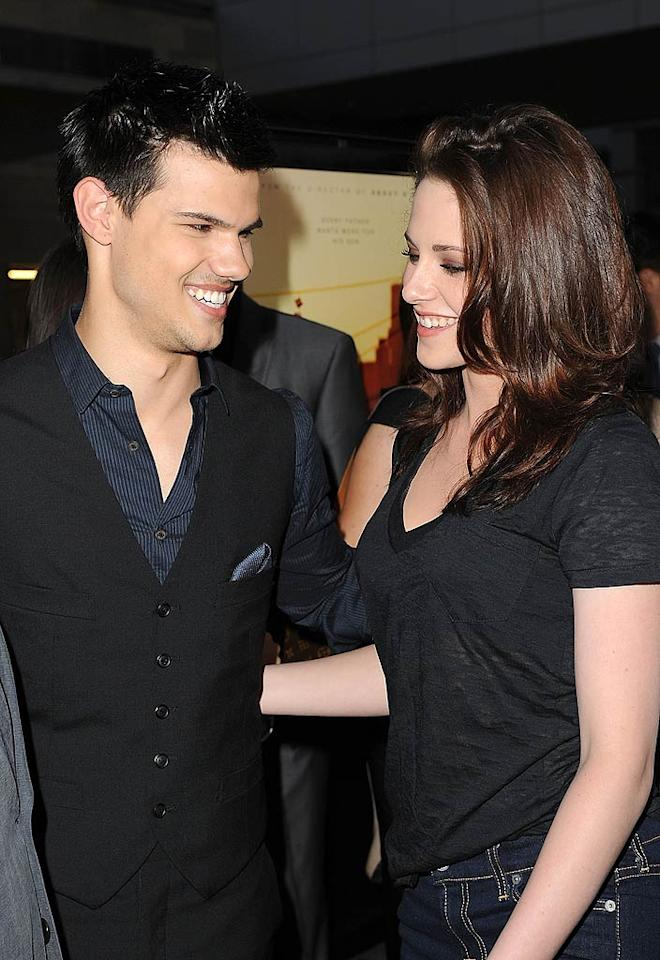 """Twilight"" stars Taylor Lautner and Kristen Stewart looked happy to be reunited at the world premiere gala screening of ""A Better Life"" during the 2011 Los Angeles Film Festival on Tuesday. The flick follows a gardener in East L.A. who's struggling to keep his son away from gangs and immigration agents. Jason Merritt/<a href=""http://www.gettyimages.com/"" target=""new"">GettyImages.com</a> - June 21, 2011"