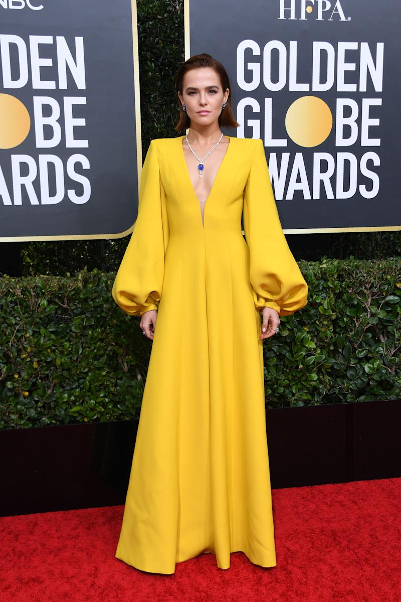 Zoey Deutch in yellow Fendi dress for the 77th annual Golden Globe Awards on January 5, 2020, at The Beverly Hilton hotel in Beverly Hills, California.