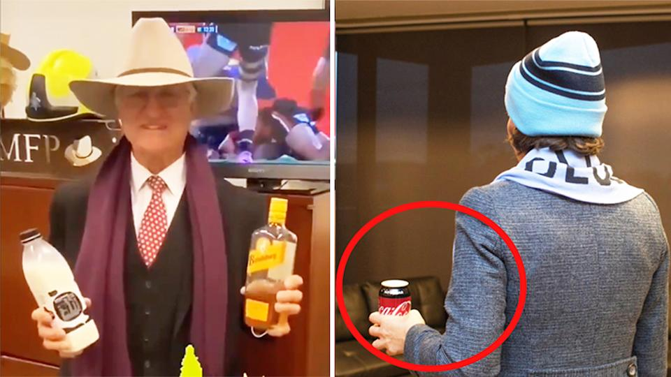 Queensland MP Bob Katter (pictured left) holding milk and rum and (pictured right) NSW Premier Gladys Berejiklian (pictured right) before State of Origin.