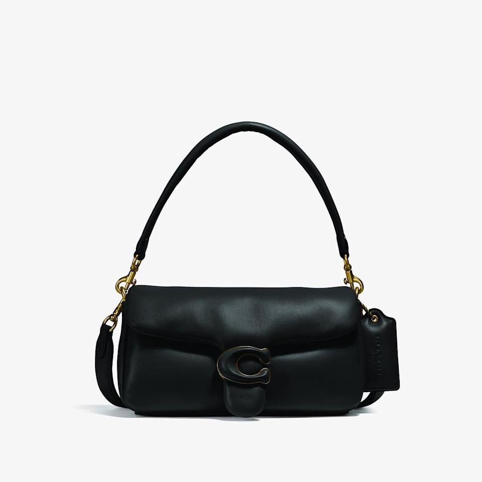 <p><span>Coach Pillow Tabby Shoulder Bag 26 in Brass/Black</span> ($495)</p>