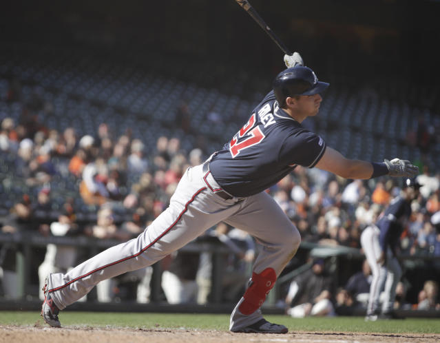 Atlanta Braves' Austin Riley follows through on an RBI single off San Francisco Giants' Reyes Moronta during the 13th inning inning of a baseball game Thursday, May 23, 2019, in San Francisco. (AP Photo/Ben Margot)