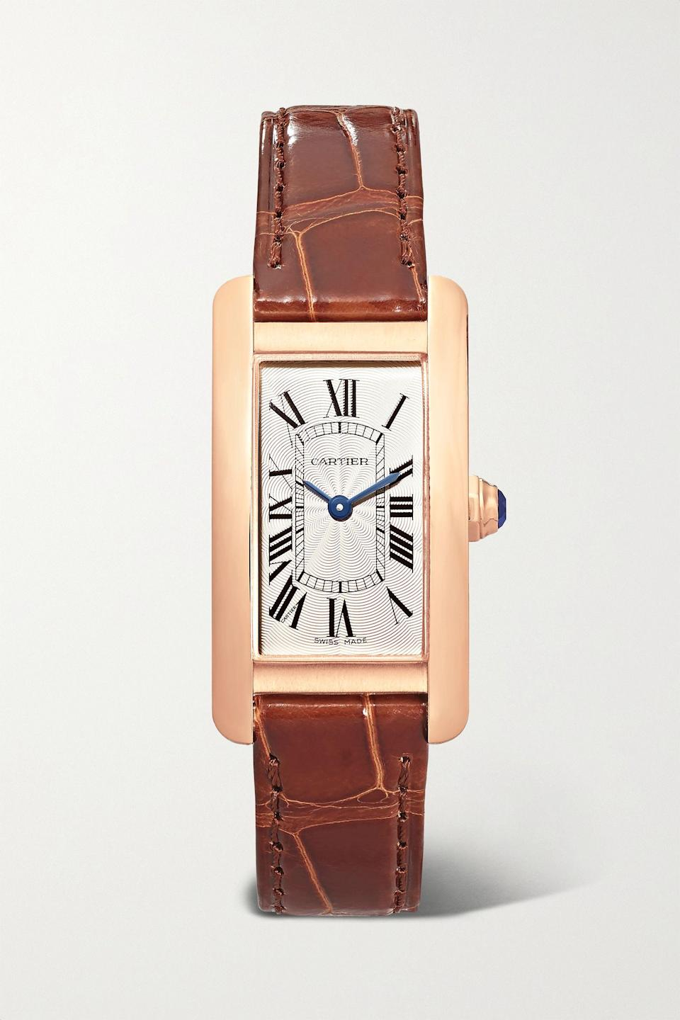 """<p><strong>Cartier</strong></p><p>net-a-porter.com</p><p><strong>$10600.00</strong></p><p><a href=""""https://go.redirectingat.com?id=74968X1596630&url=https%3A%2F%2Fwww.net-a-porter.com%2Fen-us%2Fshop%2Fproduct%2Fcartier%2Fjewelry-and-watches%2Fwatches%2Ftank-americaine-348mm-small-18-karat-rose-gold-and-alligator-watch%2F19971654707114679&sref=https%3A%2F%2Fwww.harpersbazaar.com%2Ffashion%2Ftrends%2Fg24061584%2Fbest-gifts-for-friends-ideas%2F"""" rel=""""nofollow noopener"""" target=""""_blank"""" data-ylk=""""slk:Shop Now"""" class=""""link rapid-noclick-resp"""">Shop Now</a></p><p>Time for a celebration? Do it properly.</p>"""