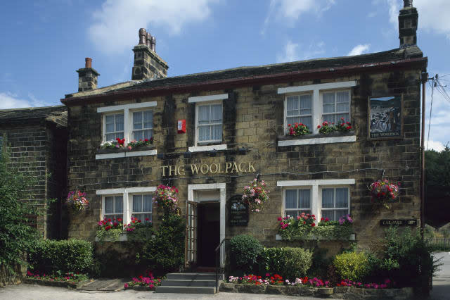 The Woolpack Pub from Emmerdale Farm TV programme, Yorkshire, England