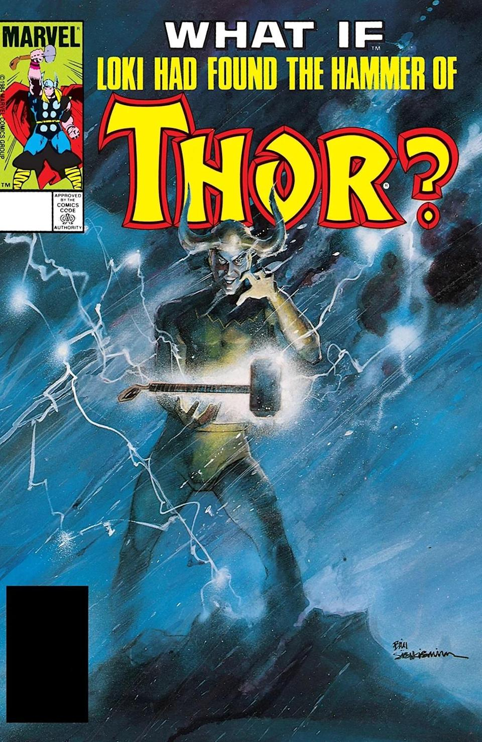 """The cover of What If? #47 asks """"What if Loki Had Found the Hammer of Thor?"""" and depicts Loki, in full God of Mischief garb, with a glowing Mjolnir floating in front of him. Loki has a devilish grin on his face while wind and lightning swirls behind him."""