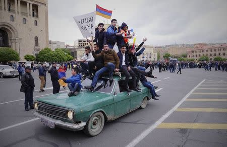 Protesters march in Armenia after opposition leader detained