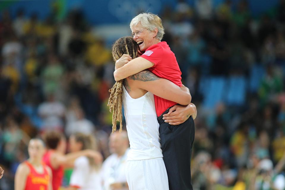 Carol Callan celebrates with Brittney Griner after the team won gold at the Rio Olympics in 2016. (Tim Clayton/Corbis via Getty Images)