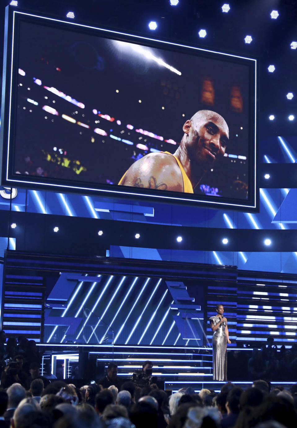 Host Alicia Keys speaks during a tribute in honor of the late Kobe Bryant at the 62nd annual Grammy Awards on Sunday, Jan. 26, 2020, in Los Angeles. (Photo by Matt Sayles/Invision/AP)