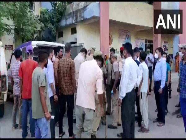 A visual from outside the hospital after violence broke out in Darrang district of Assam. (Photo/ANI)