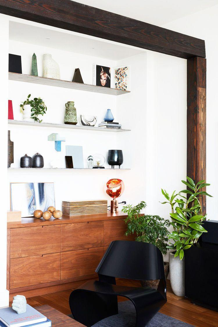 <p>Just like you can play with various color, composition, and material options for your floating shelves, consider all your profile types. For example, a thicker shelf will be more assertive on the wall while thin floating shelves like these will be sleeker and allow the decorative items to take center stage. </p>