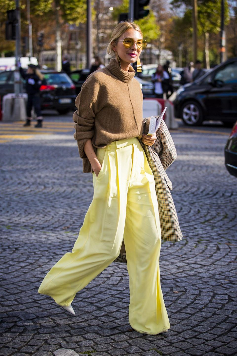 <p>Tame standout trousers with an everyday knit, and tuck it in to temper the volume.</p>