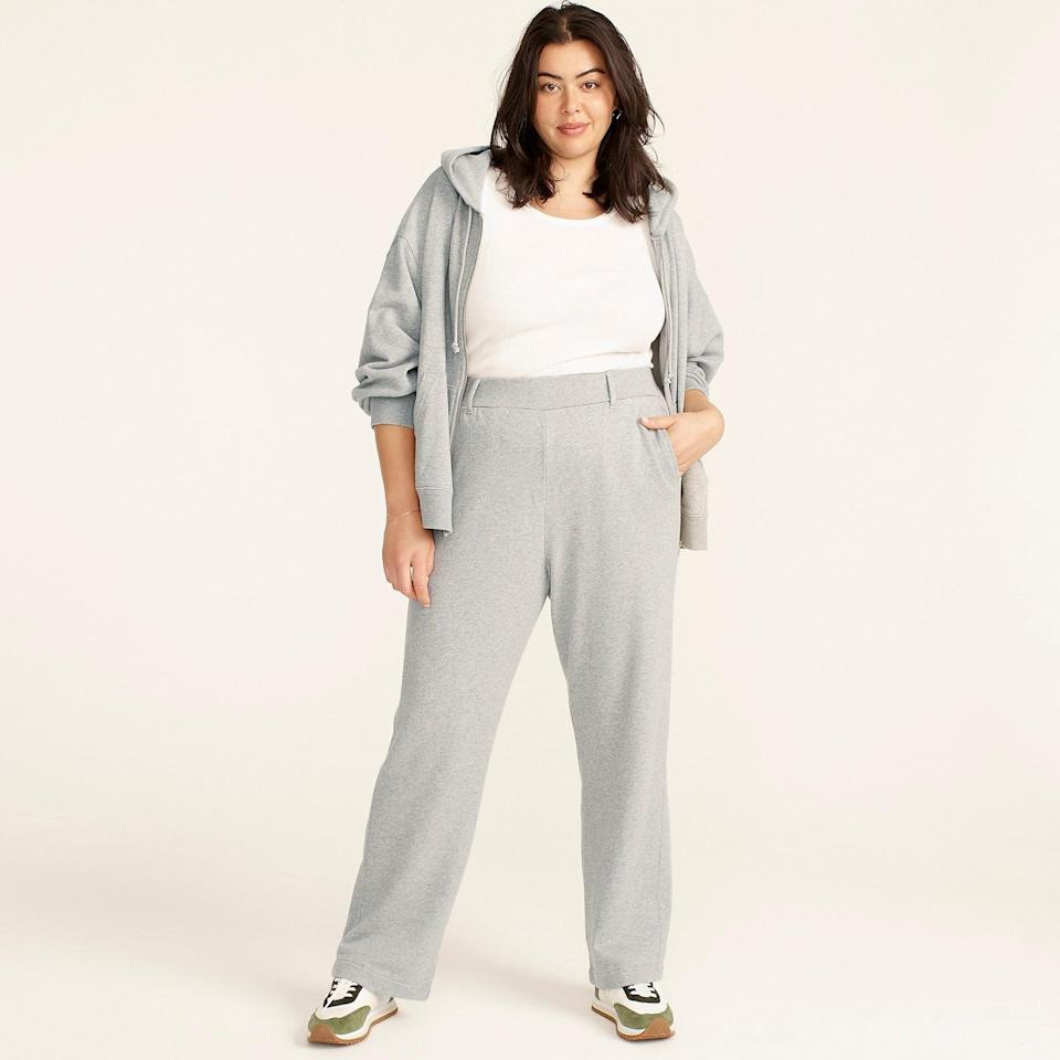 """<br><br><strong>J. Crew</strong> University terry trouser pant, $, available at <a href=""""https://go.skimresources.com/?id=30283X879131&url=https%3A%2F%2Fwww.jcrew.com%2Fp%2Fwomens%2Fcategories%2Fclothing%2Fsweatshirts-and-sweatpants%2Fmatching-sets%2Funiversity-terry-trouser-pant%2FBA376"""" rel=""""nofollow noopener"""" target=""""_blank"""" data-ylk=""""slk:J. Crew"""" class=""""link rapid-noclick-resp"""">J. Crew</a>"""