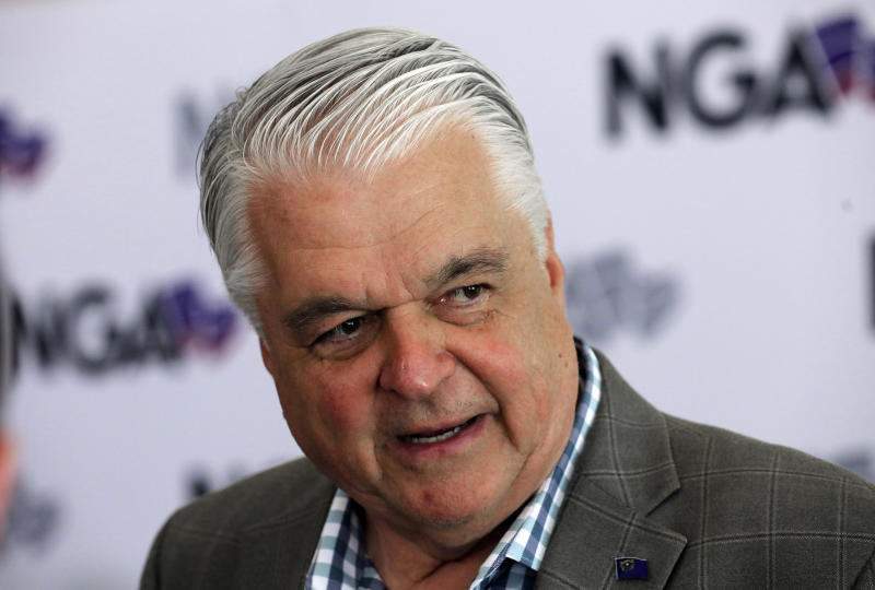 "FILE - This July 24, 2019 file photo shows Nevada Gov. Steve Sisolak speaks during a news conference at the summer meeting of the National Governors Association in Salt Lake City. Sisolak is expressing outrage and vowing to tighten marijuana licensing oversight after reports that a foreign national contributed to two top state political candidates last year in a bid to skirt rules to open a legal cannabis store. Sisolak declared Friday, Oct. 11, 2019 there's been ""lack of oversight and inaction"" by the state Marijuana Enforcement Division. (AP Photo/Rick Bowmer, File)"
