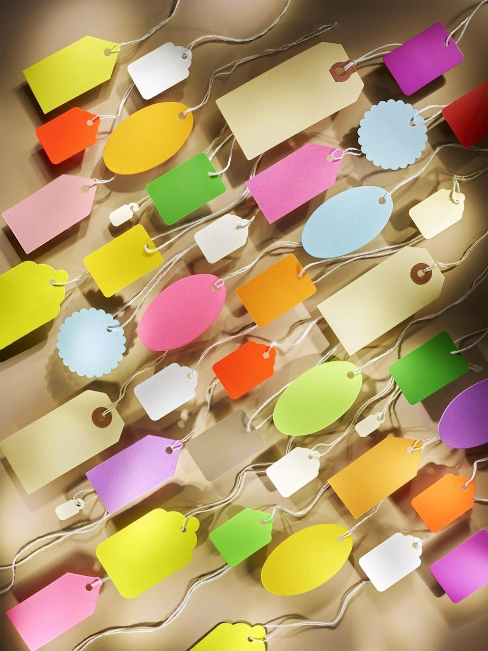 spread of assorted gift tags