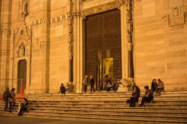 NAPLES, ITALY - OCTOBER 31, 2015: Main entrance to Naples Cathedral. Is a Roman Catholic church and the seat of the Archbishop of Naples. It is known as the Cattedrale di San Gennaro (St Januarius).