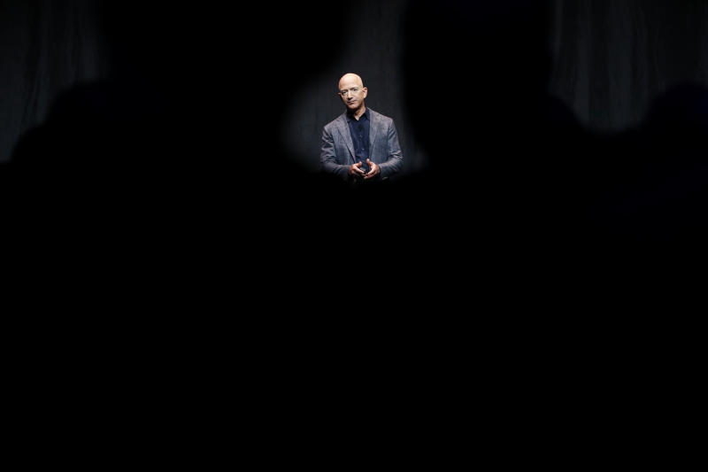 """FILE - In this May 9, 2019, file photo Jeff Bezos speaks at an event before unveiling Blue Origin's Blue Moon lunar lander in Washington. Two U.N. experts this week called for the U.S. to investigate a likely hack of Bezos' phone that could have involved Saudi Arabian Crown Prince Mohammed bin Salman. A commissioned forensic report found with """"medium to high confidence"""" that Bezos' phone was compromised by a video MP4 file he received from the prince in May 2018. (AP Photo/Patrick Semansky, File)"""