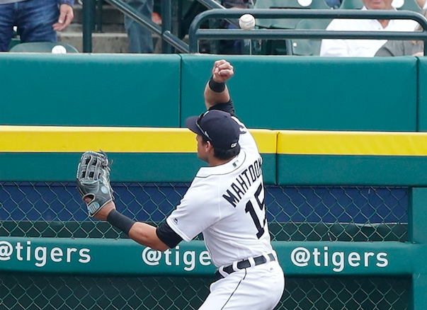 Mikie Mahtook couldn't handle this home run from José Ramírez. (AP Photo)