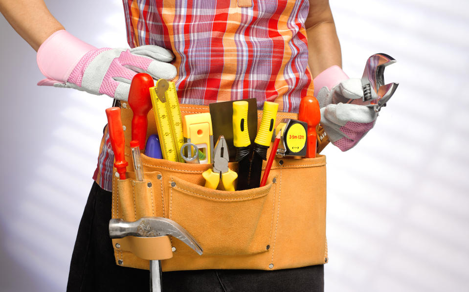 role reversal of traditional stereotype, woman doing DIY