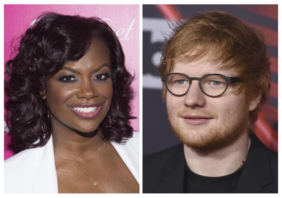 "FILE - In this combination photo, musician, songwriter and TV personality Kandi Burruss, left, appears at the OK! Magazine's So Sexy Party in June 1, 2016 in New York and musician Ed Sheeran appears at the iHeartRadio Music Awards on March 5, 2017, in Inglewood, Calif. On the website for performance rights organization ASCAP, Burruss, Tameka Cottle and Kevin Briggs have been added as co-writers of ""Shape of You,"" co-written by Sheeran, Steve Mac and John McDaid. Burruss, also a reality star on Bravo's ""The Real Housewives of Atlanta,"" posted about the news Sunday, March 19, 2017, on her Instagram page. (Photos by Charles Sykes and Jordan Strauss/Invision/AP, File)"