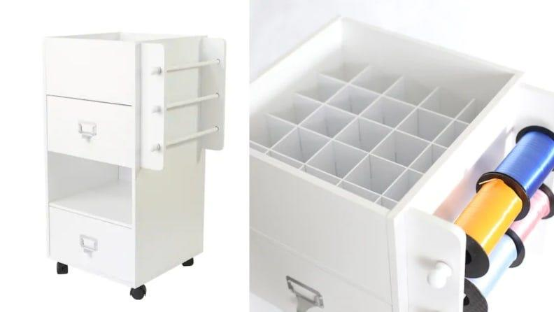 This piece of furniture comes with specialized compartments with areas for specific supplies.
