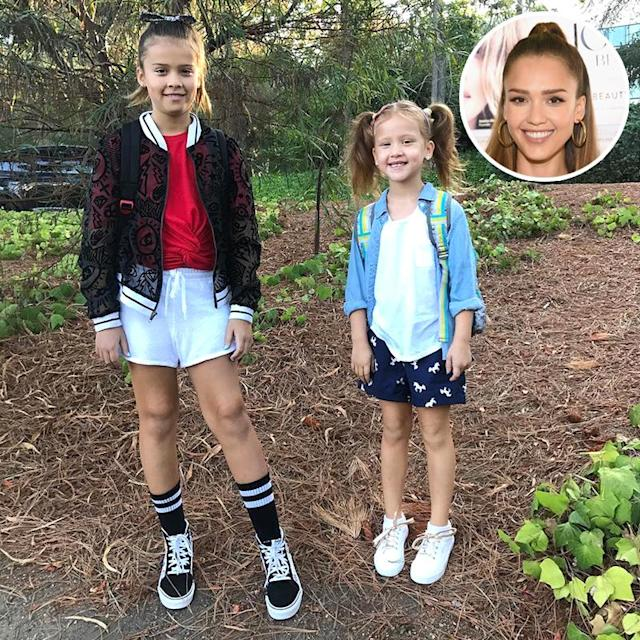 "<p>Jessica Alba has a baby on the way, but her daughters are getting into big-girl territory. ""Such a trip — I have a 1st and 4th grader!!!!"" she <a href=""https://www.instagram.com/p/BYqopEpgvFM/?hl=en&taken-by=cash_warren"" rel=""nofollow noopener"" target=""_blank"" data-ylk=""slk:wrote"" class=""link rapid-noclick-resp"">wrote</a>. ""Time seriously flies."" (Photos: <a href=""https://www.instagram.com/p/BYqopEpgvFM/?hl=en&taken-by=cash_warren"" rel=""nofollow noopener"" target=""_blank"" data-ylk=""slk:Cash Warren via Instagram"" class=""link rapid-noclick-resp"">Cash Warren via Instagram</a>/Getty Images) </p>"