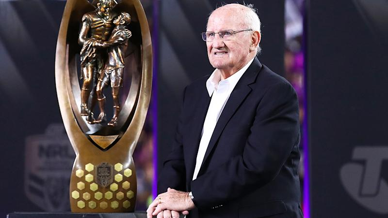 Arthur Summons, pictured here posing with The Provan-Summons Trophy after the 2017 NRL Grand Final.