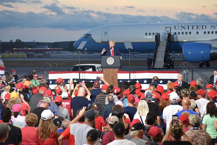 President Donald Trump delivers remarks at at Pro Star Aviation LLC at Londonderry in Manchester, New Hampshire, United States on August 28, 2020. (Photo by Kyle Mazza/Anadolu Agency via Getty Images)