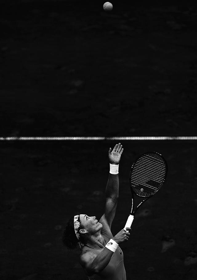 BRISBANE, AUSTRALIA - APRIL 17: (Editors note: Image has been converted to black and white.) Samantha Stosur of Australia serves during her match against Coco Vandeweghe of the USA in the Fed Cup tie between Australia and the United States at Pat Rafter Arena on April 17, 2016 in Brisbane, Australia. (Photo by Bradley Kanaris/Getty Images)