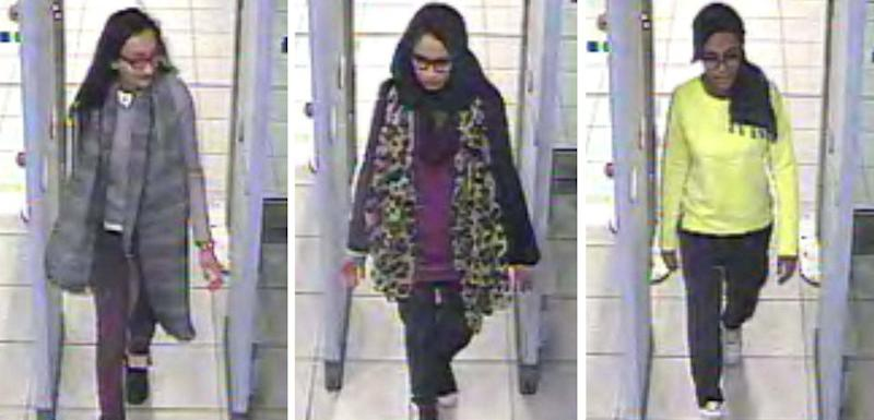Kadiza Sultana, 16, Shamima Begum, 15 and Amira Abase, 15 going through security at Gatwick airport to join IS (PA)