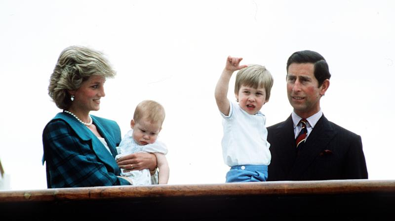 Prince Charles, Prince of Wales, Princess Diana, Princess of Wales pose with sons Prince William and Prince Harry on the Royal Yacht Britannia on May 6, 1985 in Venice, Italy.