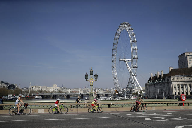 London has seen a rise in the number of cyclists – for commuting and recreational reasons – during the coronavirus lockdown. (AP)