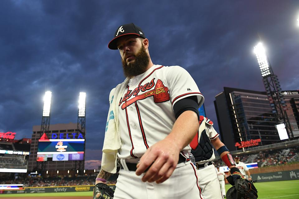 Aug 14, 2019; Cumberland, GA, USA; Atlanta Braves starting pitcher Dallas Keuchel (60) walks to the dugout prior to the game against the New York Mets at SunTrust Park. Mandatory Credit: Adam C. Hagy-USA TODAY Sports