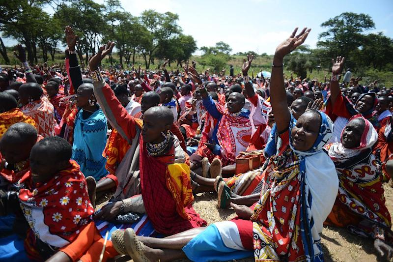Kenyan Maasai women gather for a meeting dedicated to the practice of female genital mutilation