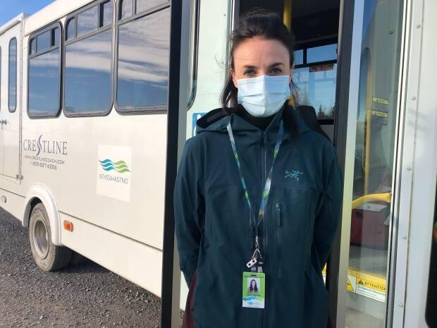 Sarah Fitzgerald is a registered nurse and the Beaufort Delta's regional quality risk manager. She said each time the bus has gone around town, just under 10 people got vaccinated. (Mackenzie Scott/CBC - image credit)