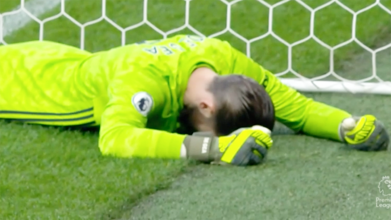 David De Gea, pictured here after making a horrible mistake.