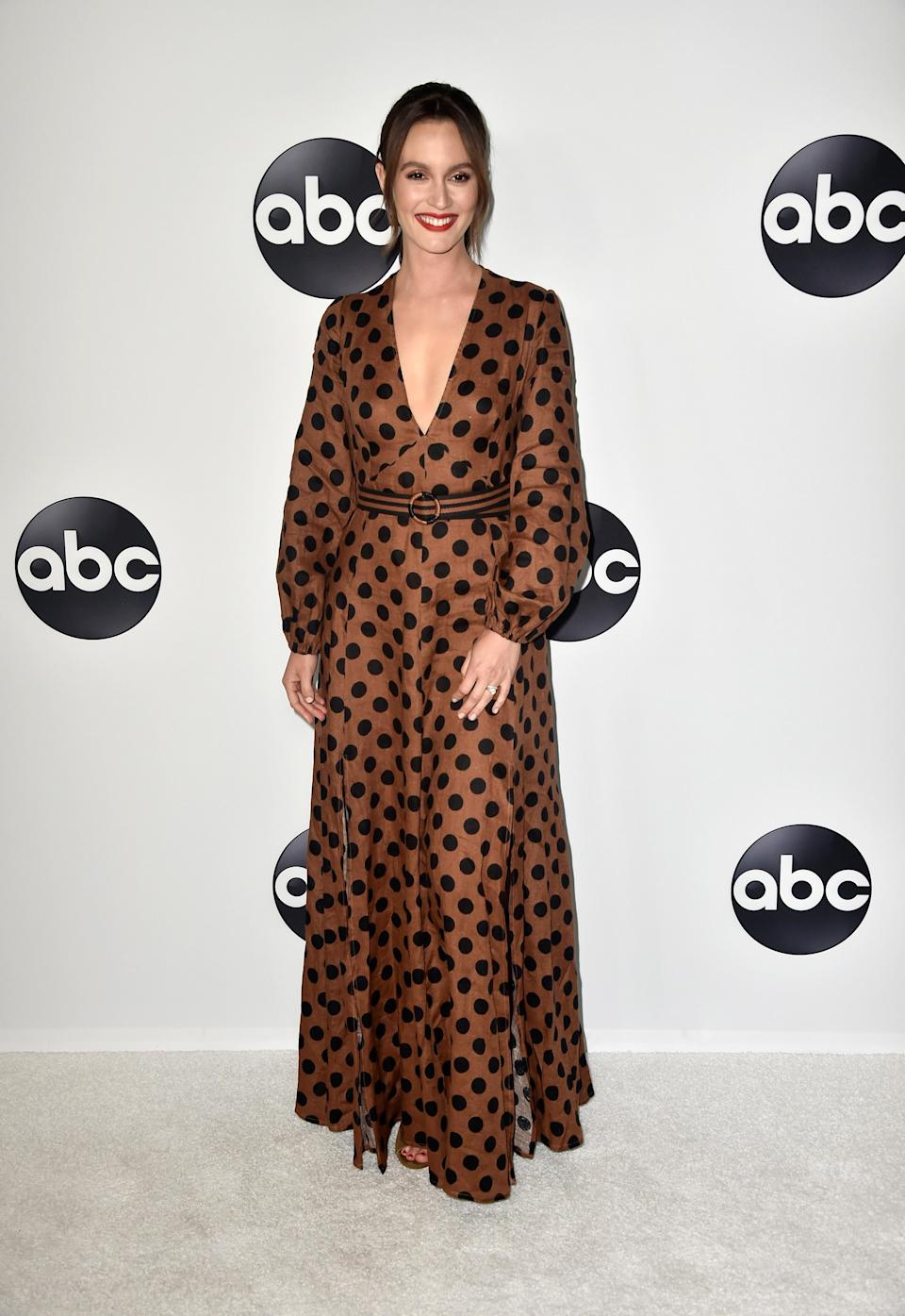 <p>Former 'Gossip Girl' star Leighton worked a polka dot dress by Zimmerman this month. <em>[Photo: Getty]</em> </p>