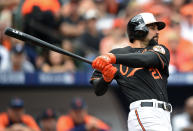 FILE - Baltimore Orioles' Nick Markakis watches his two-run home run in the third inning of Game 2 in baseball's AL Division Series against the Detroit Tigers in Baltimore, in this Friday, Oct. 3, 2014, file photo. Markakis has retired after a 15-year career spent with the Atlanta Braves and Baltimore Orioles. The 37-year-old Markakis, who was a free agent, told The Athletic in a story published Friday, March 12, 2021, that he was done playing after accumulating 2,388 hits, earning his lone All-Star bid in 2018 and coming within one win of reaching the World Series in his final season. (AP Photo/Nick Wass, File)