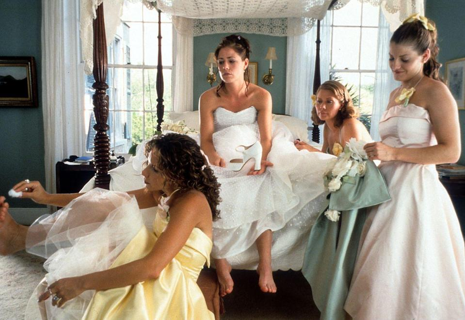 <p>By 2000, full length satin gowns were taking the lead as the most popular trend for bridesmaids. Brides also start choosing more than one color for their wedding party. </p>