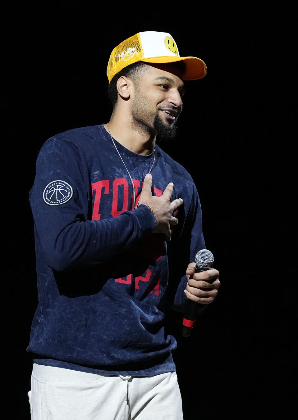 Denver Nuggets' Jamal Murray reacts to cheering fans before Game 1 against the Portland Trail Blazers in a first-round NBA basketball playoff series Saturday, May 22, 2021, in Denver. (AP Photo/Jack Dempsey)